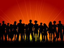 Huge crowd. Of people at sunset royalty free illustration