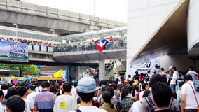 Huge crowd listen speech for against the construction of a dam in Mae Wong Stock Image