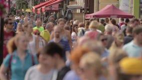 Huge Crowd of People Walks Slow Motion stock video