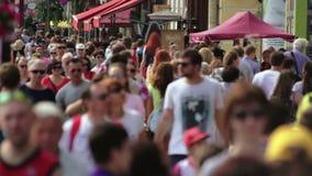Huge Crowd On A Sidewalk City Life. Huge Crowd On A Sidewalk Overcrowded In Big Cities Global Urbanization stock video