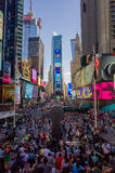 Huge crowd of tourists at Times Square viewed from the bleacher Royalty Free Stock Photography