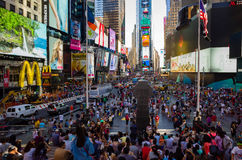 Huge crowd of tourists at Times Square viewed from the bleacher Stock Image