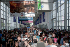 Huge crowd of visitors at Gamescom 2010 Royalty Free Stock Photos