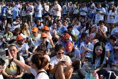 Huge crowd of Young people gather at Color Manila Glitter Run on city square. Public Event. Manila, Philippines - October 22, 2017: Organized by social groups royalty free stock image