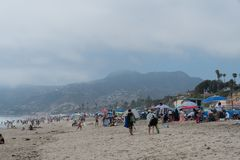 Huge crowd at the Zuma Beach on the Memorial Day, Malibu, California. It appears everyone ended up at the Zuma Beach on the Memorial Day, Malibu, California Royalty Free Stock Photography