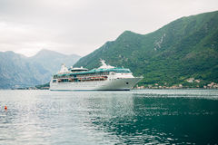 Huge cruise ship in the Bay of Kotor in Montenegro. A beautiful Royalty Free Stock Image