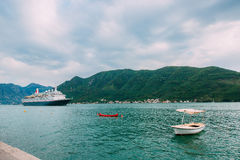 Huge cruise ship in the Bay of Kotor in Montenegro. A beautiful Stock Photo