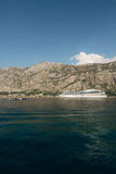 Huge cruise ship in the Bay of Kotor in Montenegro. A beautiful. Country to travel stock image