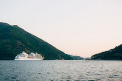 Huge cruise ship in the Bay of Kotor in Montenegro. A beautiful. Country to travel stock photos