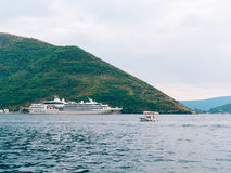 Huge cruise ship in the Bay of Kotor in Montenegro. A beautiful. Country to travel royalty free stock photos