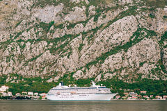 Huge cruise ship in the Bay of Kotor in Montenegro. A beautiful. Country to travel royalty free stock image