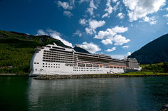 Huge cruise ship, Norway harbour Stock Photo
