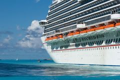 Huge cruise ship in ocean Stock Photos