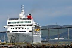 Huge cruiseship in tromsoe royalty free stock photography