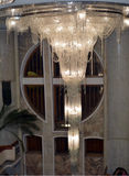 A huge crystal chandelier. In the lobby Royalty Free Stock Photo