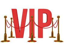 Huge 3d letters VIP and golden rope barrier Stock Images