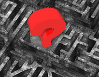 Huge 3D red question mark in maze old concrete texture. Huge 3D red question mark in center of maze old mottled concrete texture Royalty Free Stock Photos