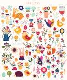 Huge decorative collection of spring elements vector illustration