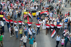 Huge demostrations against president Morsi in Egypt Stock Photo