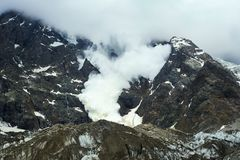 Huge destructive avalanche. Huge avalanche in Caucasian mountains of Svaneti Royalty Free Stock Image