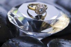 Huge diamond. Diamond - a hard, precious, expensive stone. (Diamond ring Royalty Free Stock Image