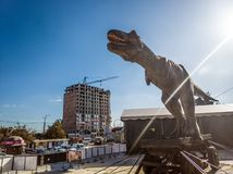 Huge dinosaur. 5 october 2018 huge dinosaur at the exhibition, Chisinau, Moldova royalty free stock photo