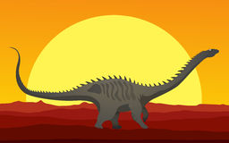 Huge dinosaur in the sunset Royalty Free Stock Photo
