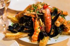 Huge dish of seafood Stock Photos