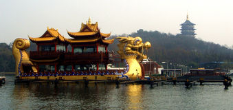 Huge Dragon Boat in China Stock Photo