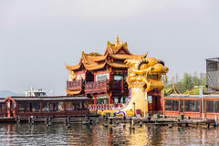 The huge dragon gaily-painted pleasure-boat Royalty Free Stock Photos
