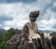 Huge dragon statue at mountain top. Ninh Binh. Vietnam Royalty Free Stock Photos