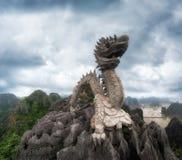 Huge dragon statue at mountain top. Ninh Binh. Vietnam Royalty Free Stock Photos