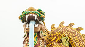 Huge dragon statue on white background stock photo