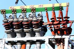 Huge electrical copper terminals of a power plant Royalty Free Stock Image