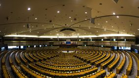 An empty hall in the European Parliament Brussels, Belgium, 06.26.2016. Editorial use only. stock photography