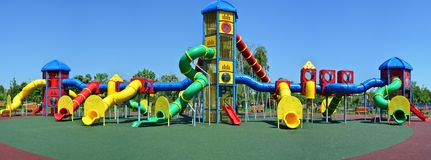 Huge empty playground in the park Royalty Free Stock Photography