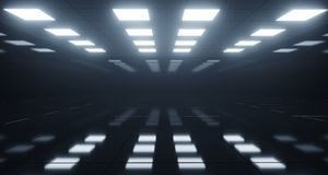 Huge Empty Room With Square Lights On Ceiling And Reflective Flo. Or. 3D Rendering Illustration royalty free illustration