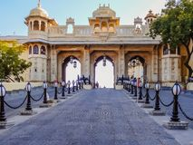 Huge entrance gate to the royal city palace in Rajasthan. Huge entrance gate to the royal city palace in Udaipur, Rajasthan, India Royalty Free Stock Photo