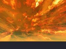 Huge eruption on Nova. Computer generated landscape Stock Image