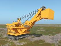 Huge excavator in a landscape. Computer generated 3D illustration with a huge excavator in a landscape Stock Photo