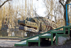 Huge fabulous crocodile in the park. Stock Photography