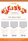 Huge Fall Sale product flyer template. Fall Sale flyer template with orange fall leaves stock illustration