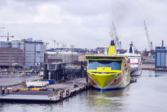 Huge ferries in a European sea port... Royalty Free Stock Photography