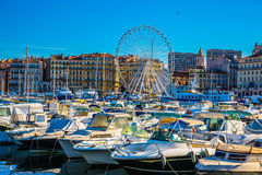 Huge Ferris wheel in Marseille Old Port Royalty Free Stock Photos