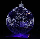 Huge festive sphere. The huge festive sphere shines at night on the street Stock Photography