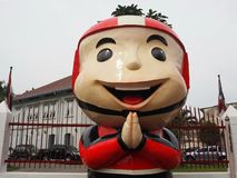 A Greeting Postman Figure. A huge figure of postman greeting in front of the Chiang Mai Philatelic Museum public display and allowed to take photos, without Royalty Free Stock Image