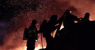 Huge fire blazing in commercial building.