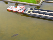Huge Fish next to a Ship Royalty Free Stock Photography