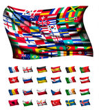 Huge flag, consisting of different countries. Stock Photo