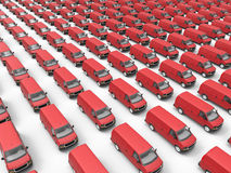 Huge fleet of delivery vans. 3D render illustration of a huge fleet of delivery vans. The composition is isolated on a white background with shadows Stock Photos